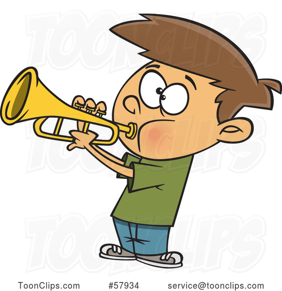 Cartoon White Boy Playing a Trumpet
