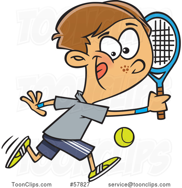 Cartoon White Boy Playing Tennis