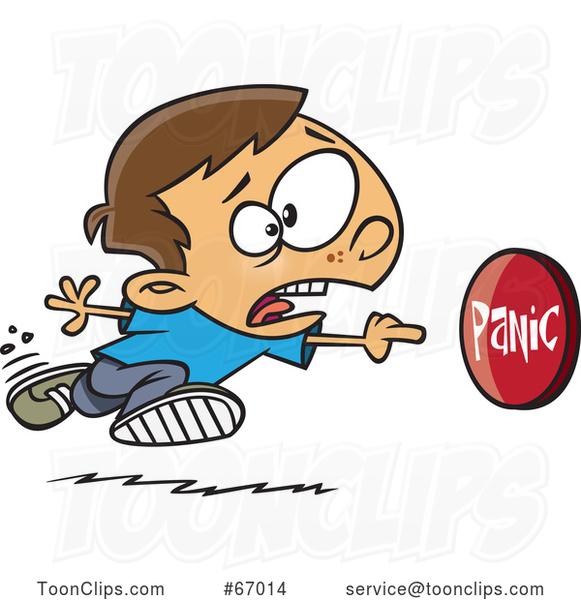 Cartoon White Boy Rushing to Push a Panic Button