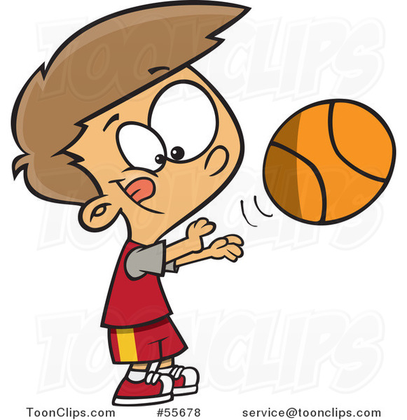 Cartoon White Boy Shooting A Basketball 55678 By Ron Leishman