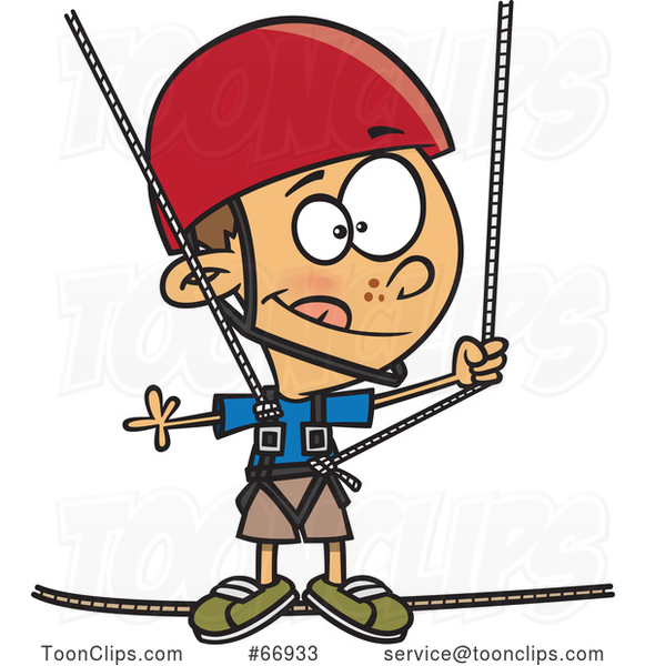 Cartoon White Boy Taking a Ropes Course