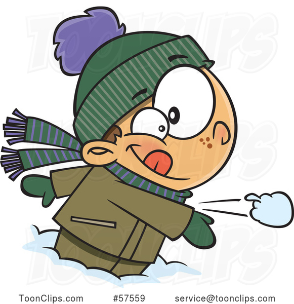 Cartoon White Boy Throwing a Snowball