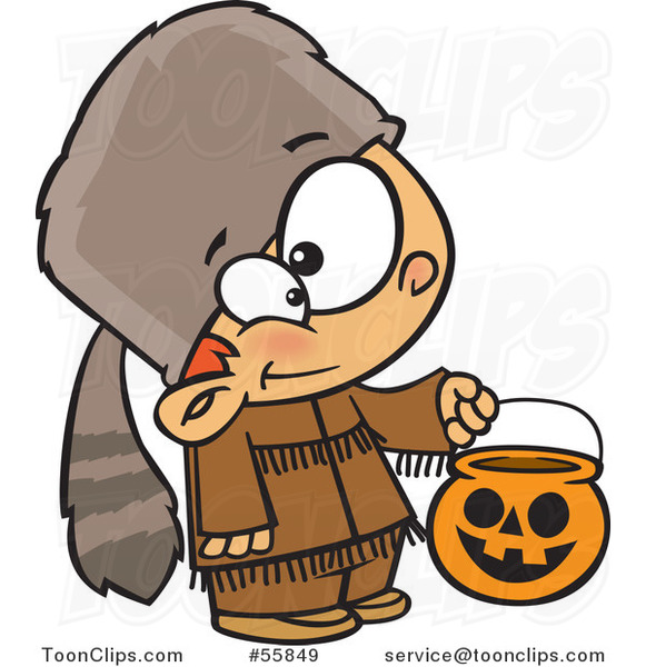 Cartoon White Boy Trick or Treating in a Davy Crockett Halloween Costume