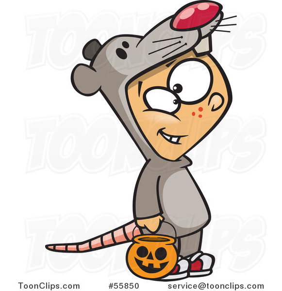 Cartoon White Boy Trick or Treating in a Mouse Halloween Costume