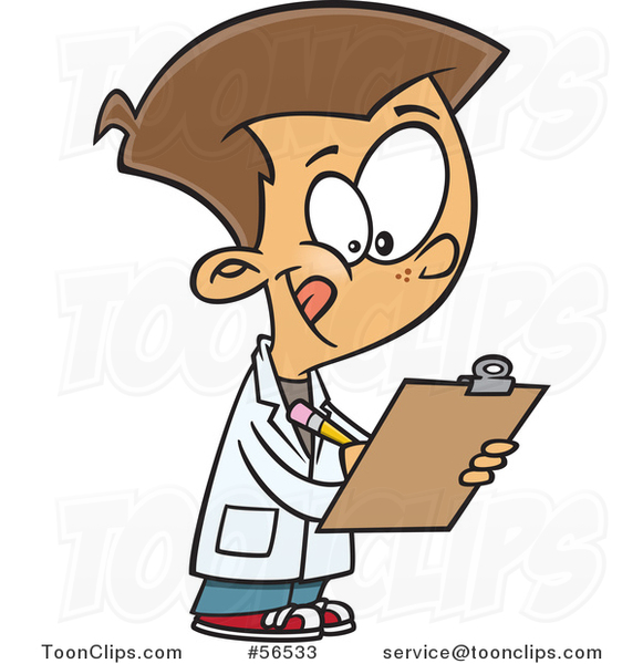 Cartoon White Boy Wearing a Lab Coat and Writing on a Clipboard