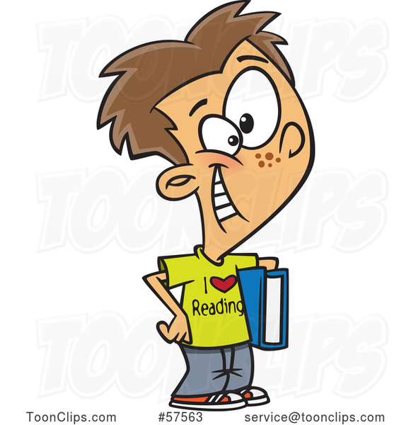 Cartoon White Boy Wearing an I Love Reading Shirt and Holding a Book