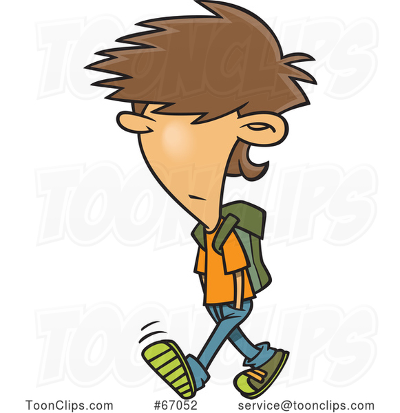 Cartoon White Boy with Messy Hair, Walking to School