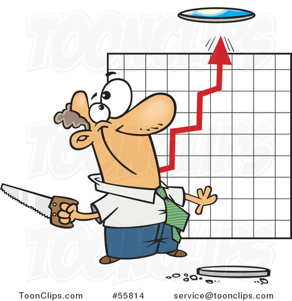 Cartoon White Business Man Cutting a Hole in the Ceiling for a Growth Chart