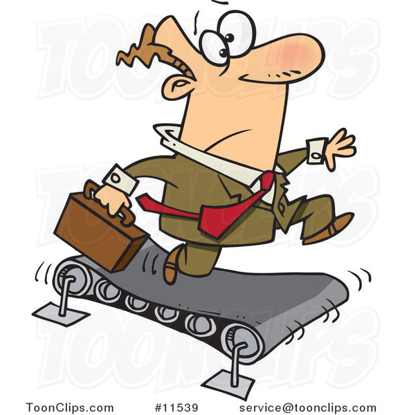 Cartoon White Business Man Running on a Treadmill
