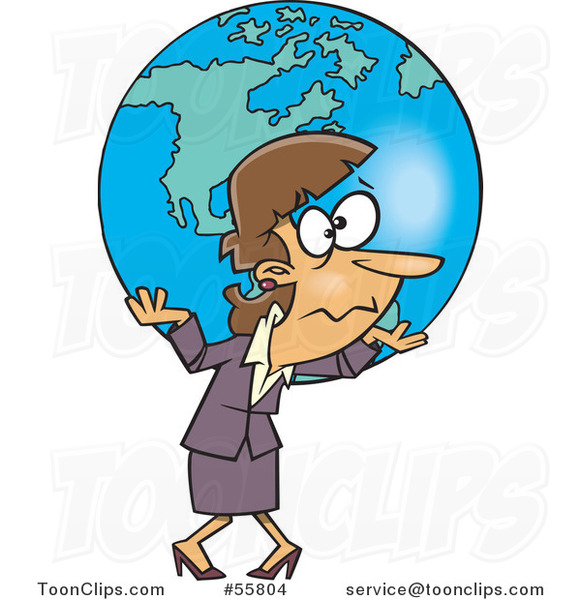 Cartoon White Business Woman Carrying Earth As a Burden