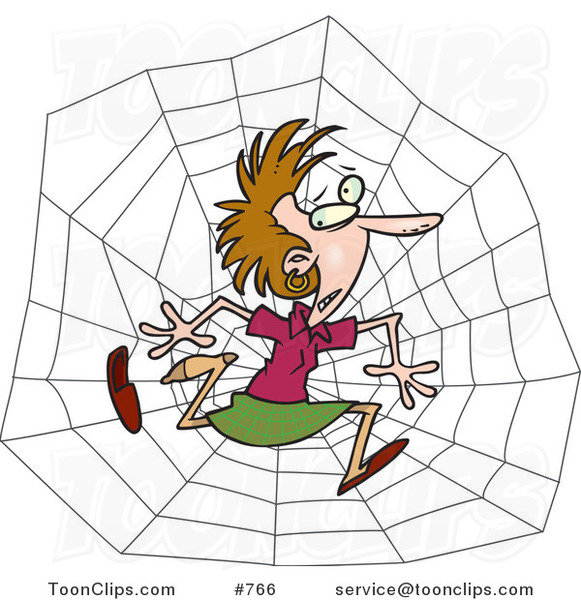 Cartoon White Business Woman Caught in a Web