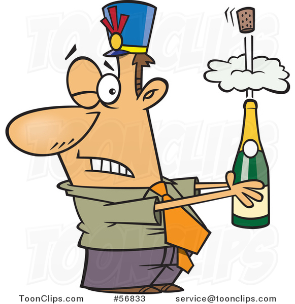 Cartoon White Businessman Holding an Exploding Bottle of Champagne at a New Year Party