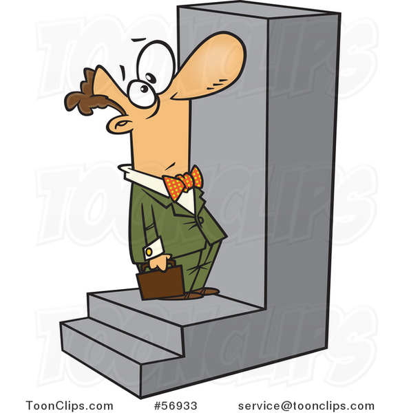 Cartoon White Businessman Looking up at a Big Step
