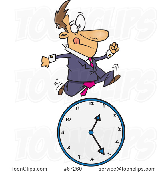 Cartoon White Businessman Running over a Clock