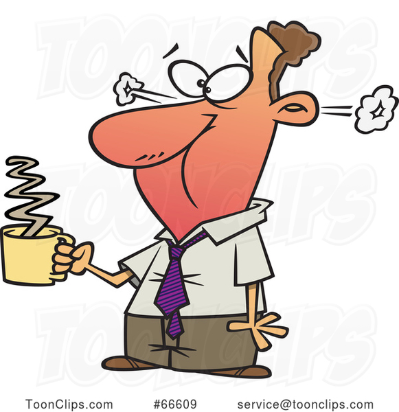 Cartoon White Businessman Steaming After Drinkng Hot Coffee