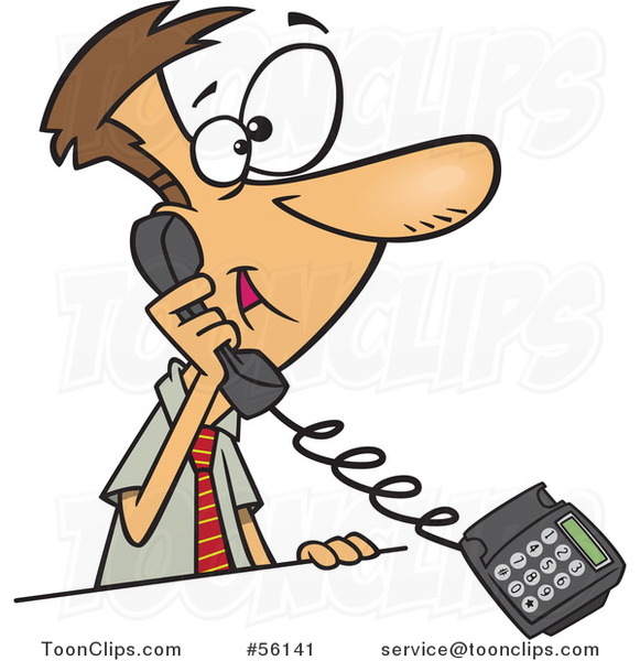 Cartoon White Businessman Talking on a Landline Telephone