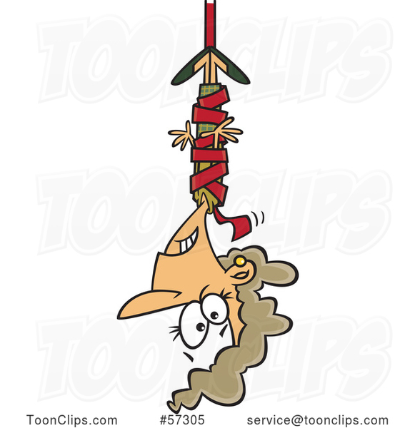 Cartoon White Businesswoman Hanging from Red Tape