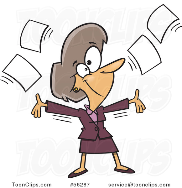 Cartoon White Businesswoman Tossing up Papers and Ready for Retirement