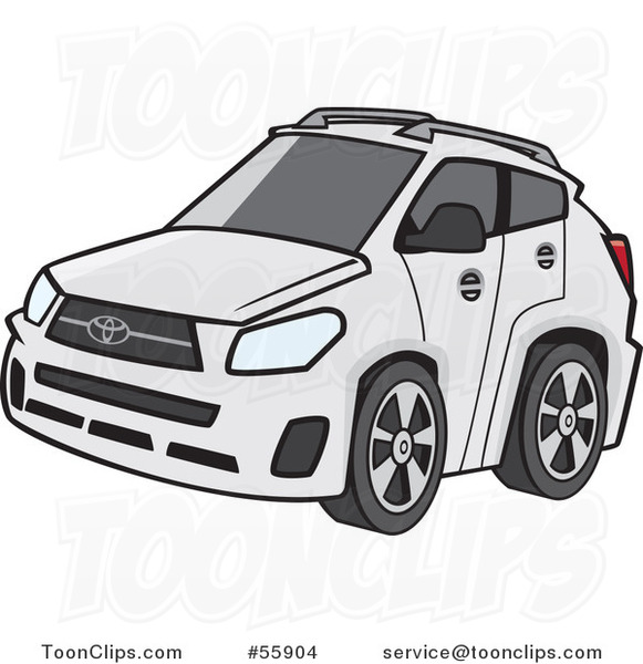Cartoon White Car with Tinted Windows