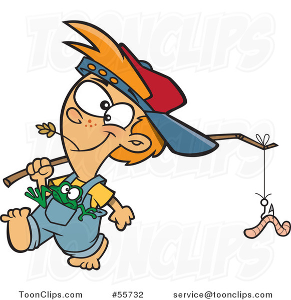 Cartoon White Country Boy Carrying a Worm on a Stick and a Frog in His Pocket