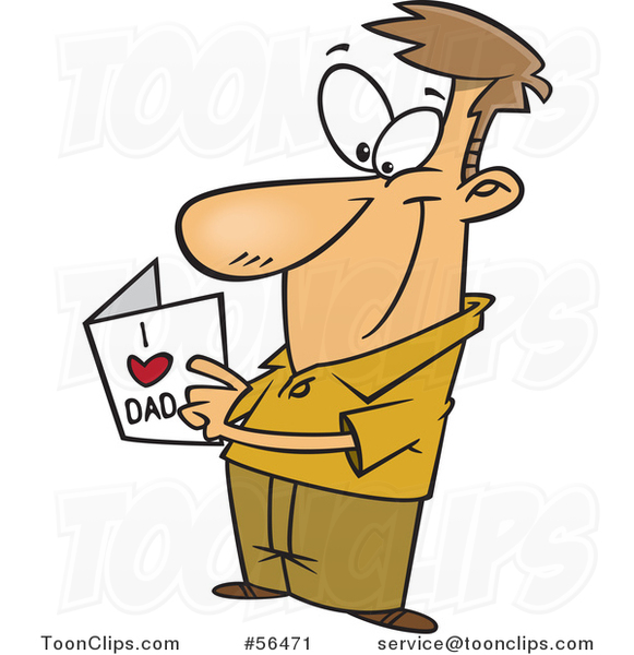 Cartoon White Dad Reading a Fathers Day Card