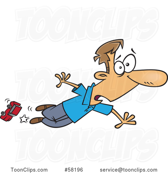 Cartoon White Dad Tripping over a Toy Car