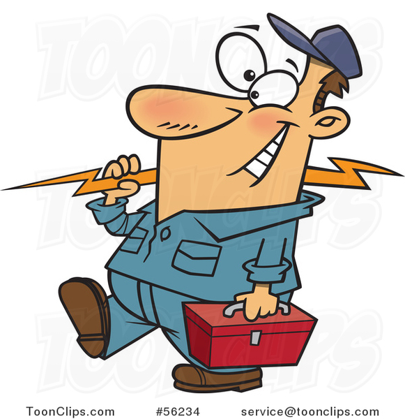 Cartoon White Electrician Walking with a Bolt and Tool Box