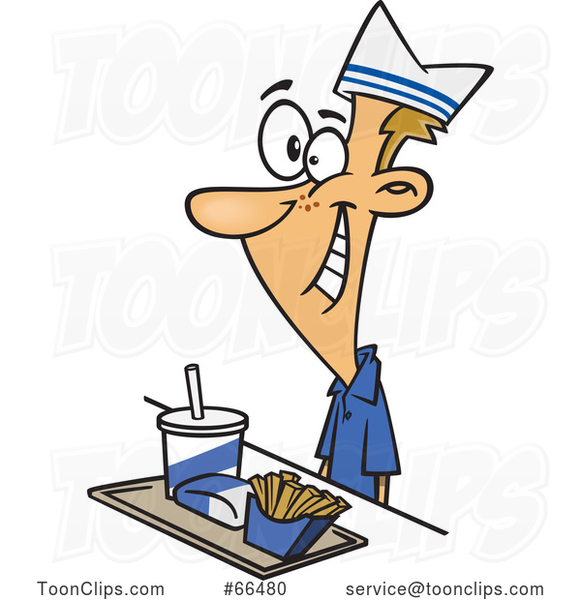 Cartoon White Fast Food Worker Guy with a Tray of Food at a Counter