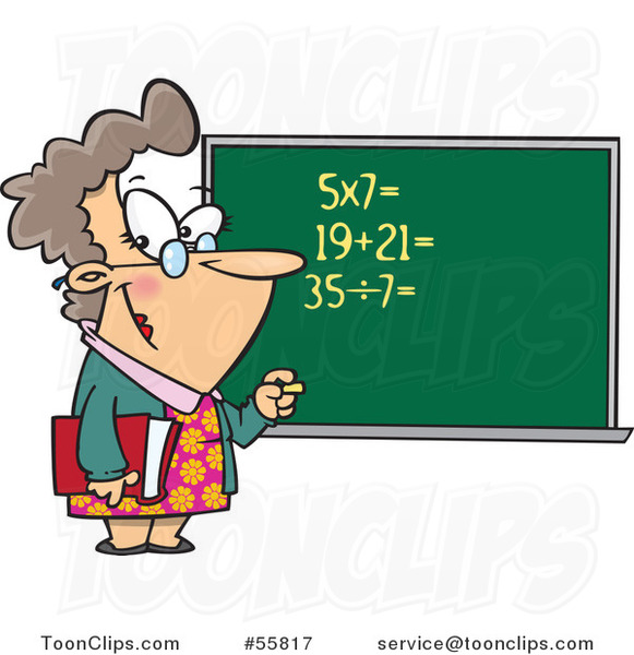 Cartoon White Female Math Teacher at a Chalk Board