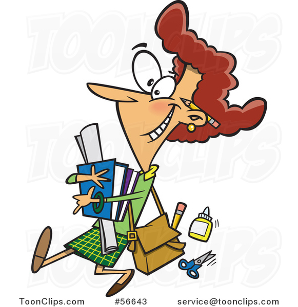 Cartoon White Female Teacher Carrying Supplies and Walking