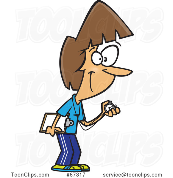 Cartoon White Female Track Coach Holding a Stopwatch