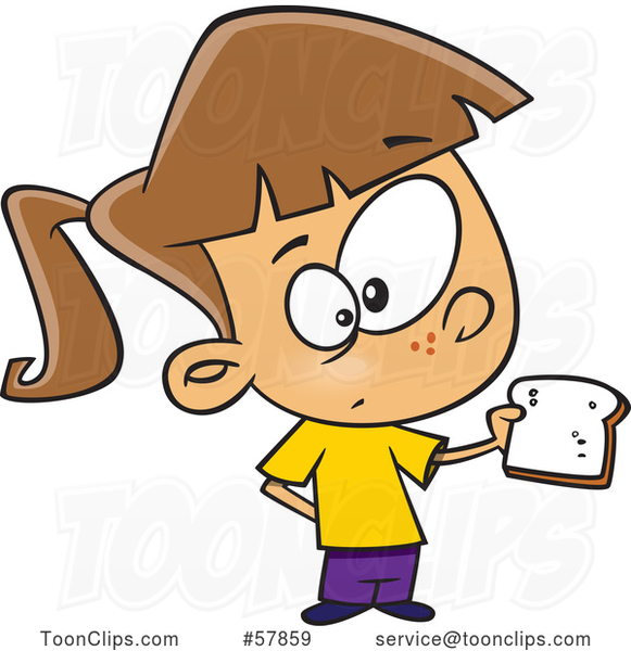 Cartoon White Girl Holding a Slice of Bread