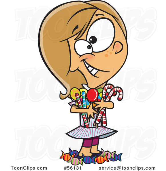 Cartoon White Girl Hugging and Standing in Her Candy Stash