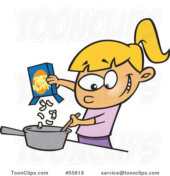Cartoon White Girl Making Macaroni and Cheese