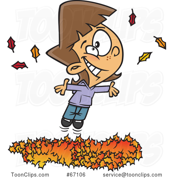 Cartoon White Girl Playing in a Pile of Autumn Leaves