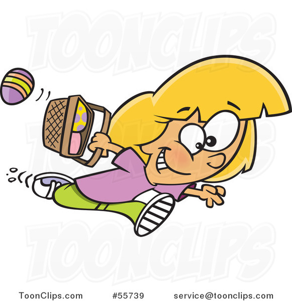 Cartoon White Girl Running with Eggs in an Easter Basket