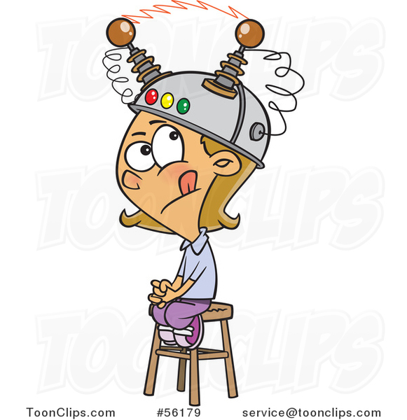 Cartoon White Girl Sitting on a Stool with a Thinking Cap on