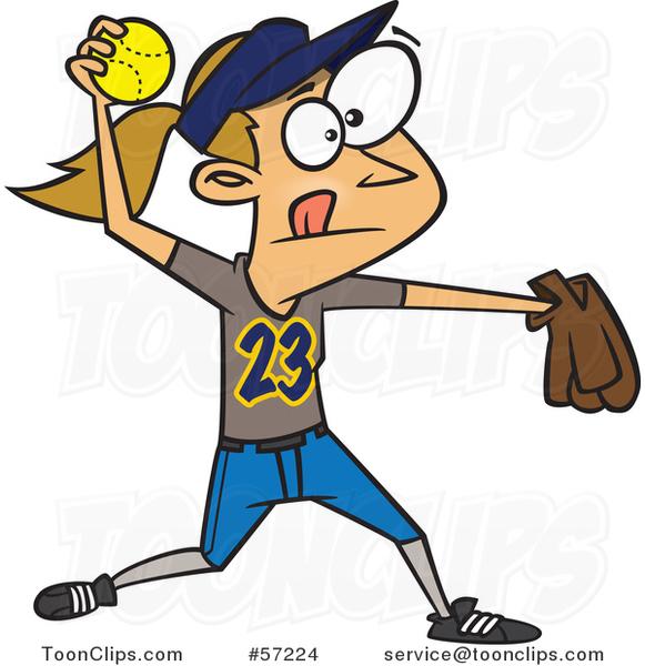 cartoon white girl throwing a softball 57224 by ron leishman Basketball Clip Art Basketball Clip Art