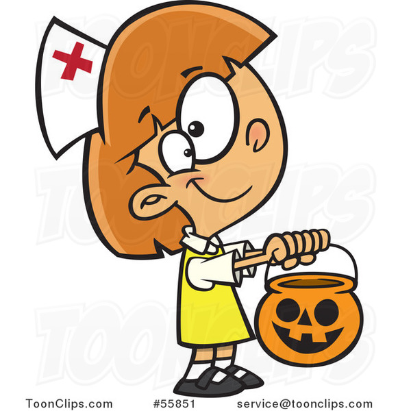 Cartoon White Girl Trick or Treating in a Nurse Halloween Costume