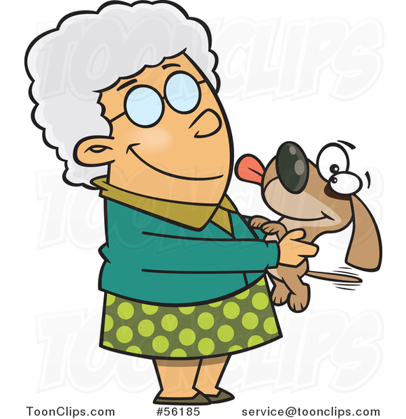 Cartoon White Granny Senior Lady Holding a Dog