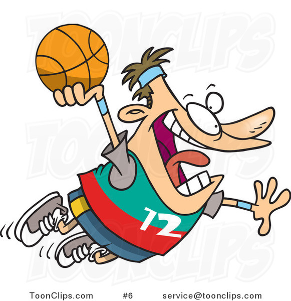 Cartoon White Guy About to Dunk a Basketball