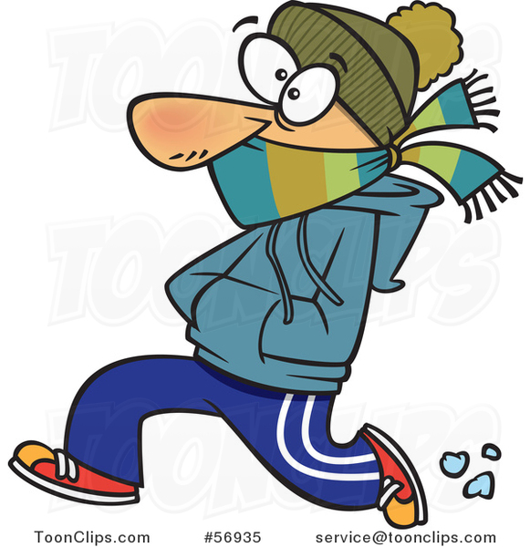 Cartoon White Guy Bundled up and Running in the Cold