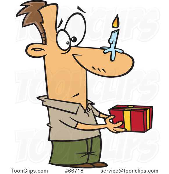 Cartoon White Guy Holding a Gift, with a Birthday Candle on His Nose