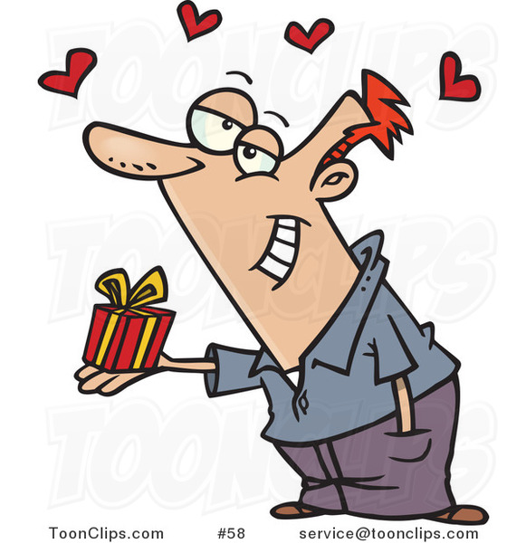 Cartoon White Guy Holding a Valentine's Day Gift, Hearts Above His Head