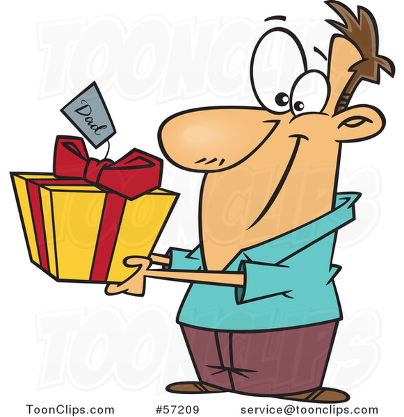 Cartoon White Guy Holding out a Gift for His Dad