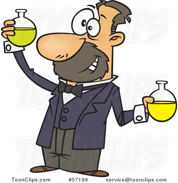 Cartoon White Guy, Louis Pasteur, Conducting a Chemistry Experiment