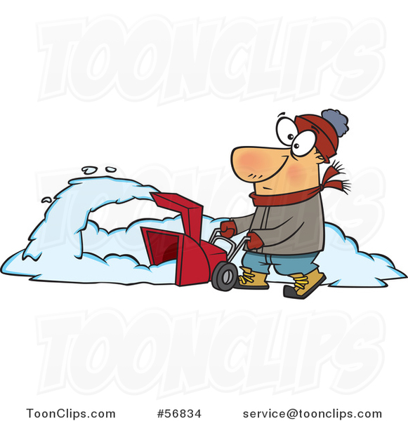 Cartoon White Guy Operating a Snow Blower on a Winter Day