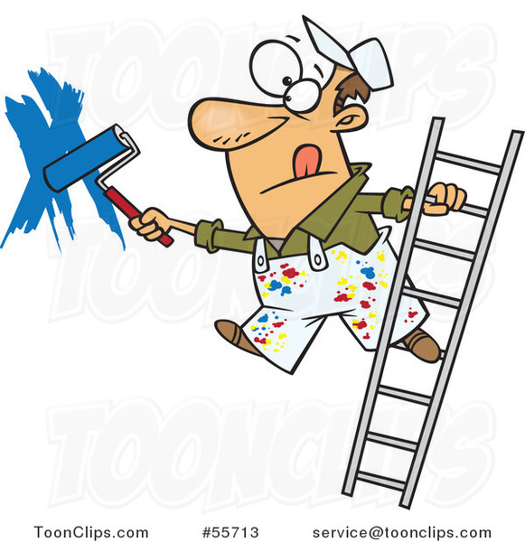 Cartoon White Guy Painting a Wall and Leaning off of a Ladder