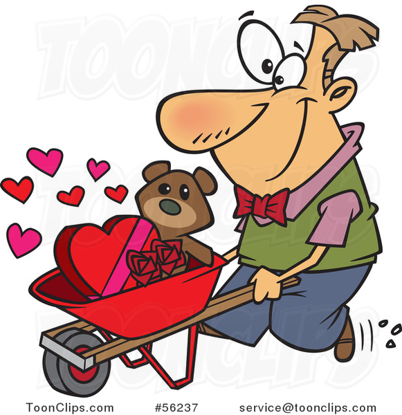 Cartoon White Guy Pushing a Valentines Day Teddy Bear Roses and Candy in a Wheelbarrow