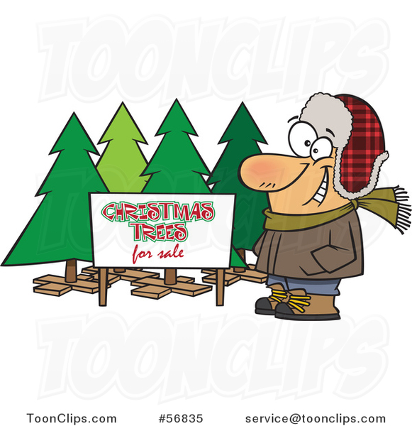 Cartoon White Guy Selling Christmas Trees at a Lot